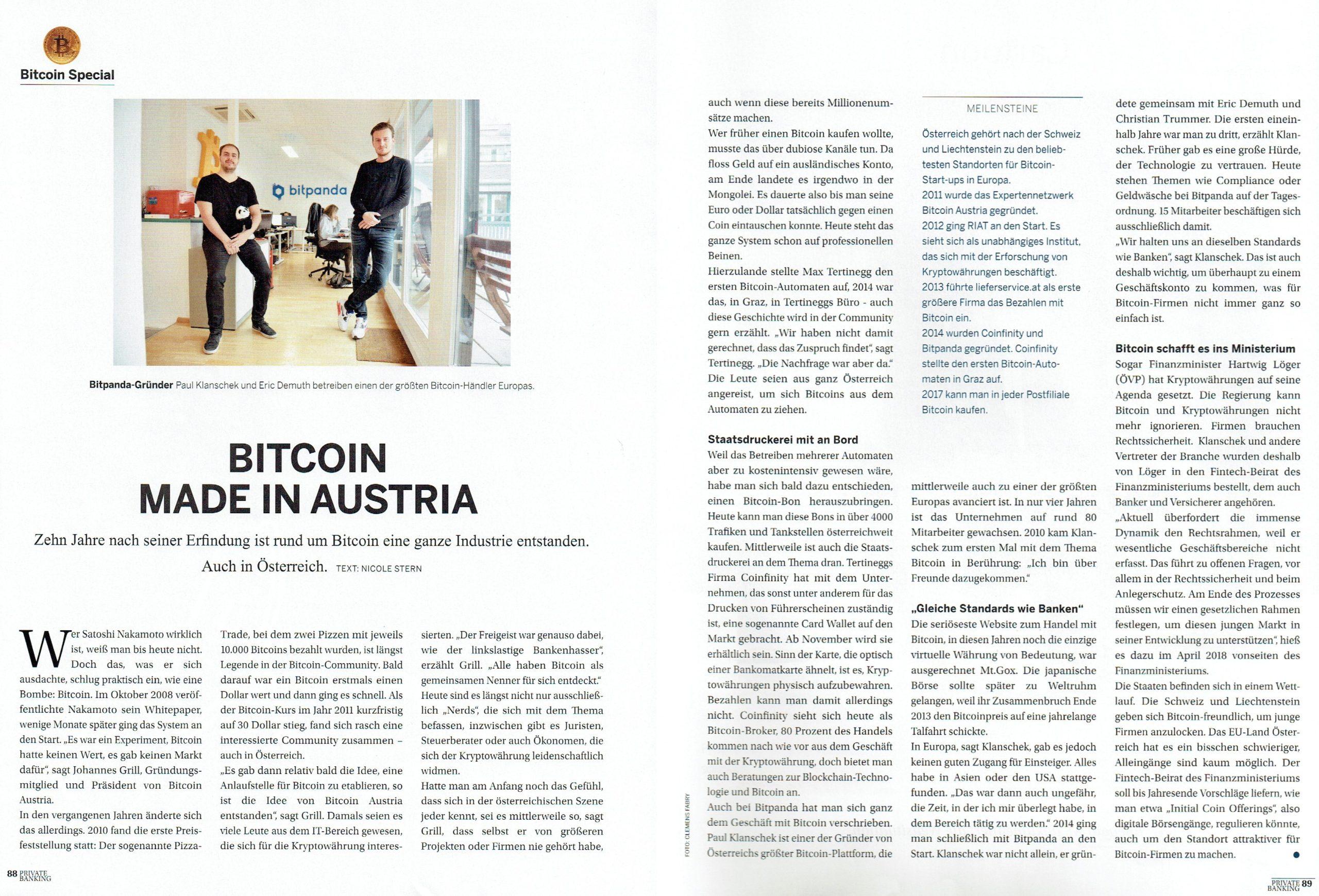 16.11.2018 Die Presse Private Banking Magazin über Bitcoin
